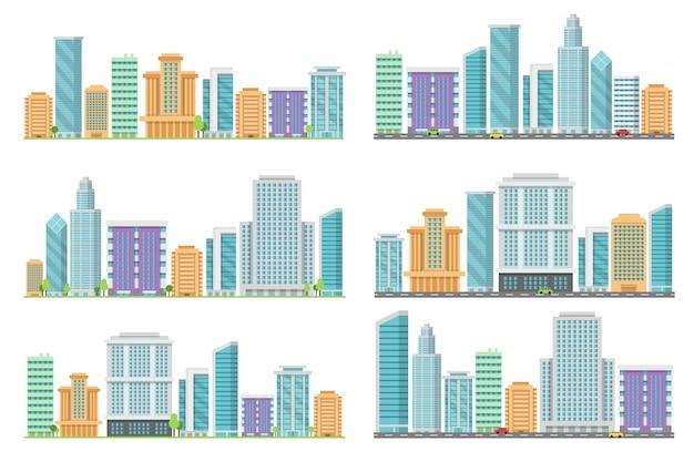 Horizontale nahtlose stadtlandschaften mit verschiedenen gebäuden