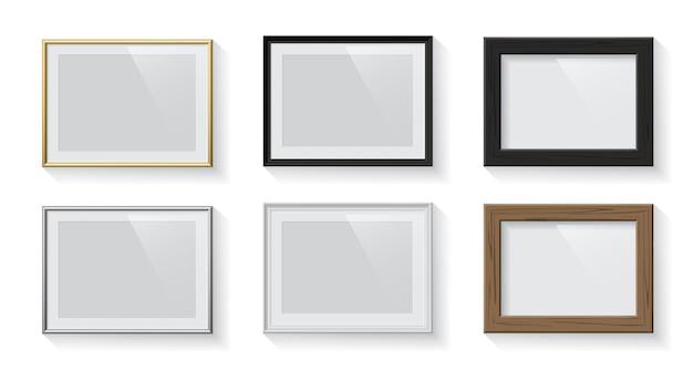 Horizontale rechteckige bilder- oder bilderrahmen auf weißem hintergrund