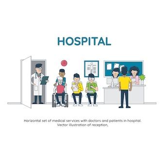 Horizontale reihe von medizinischen dienstleistungen