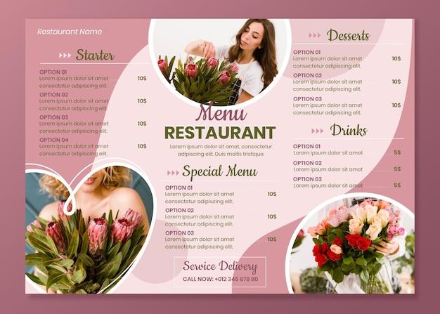 Horizontale restaurantmenüvorlage