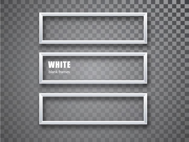 Horizontale schablone des weißen rahmens lokalisiert auf transparentem hintergrund. weiße leere bilderrahmen. leerer rahmen.