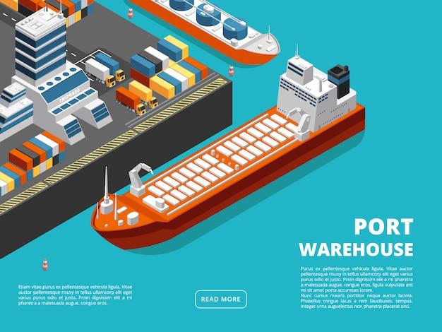 Horizontale seefracht des seetransports und versandhintergrund mit isometrischem seehafen
