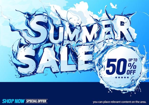 Horizontale sommerschlussverkauf-wasser-welle