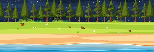 Horizontale szene am strand nachts mit vielen kiefern