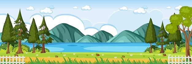 Horizontale szene des naturparks mit fluss- und gebirgshintergrund