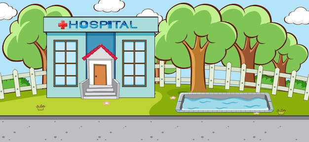 Horizontale szene mit außenszene des krankenhausgebäudes