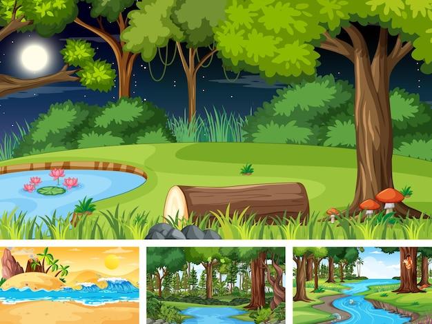 Horizontale szenen verschiedener natur im karikaturstil