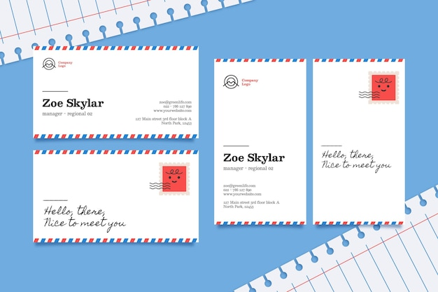 Horizontale und vertikale visitenkartenvorlage