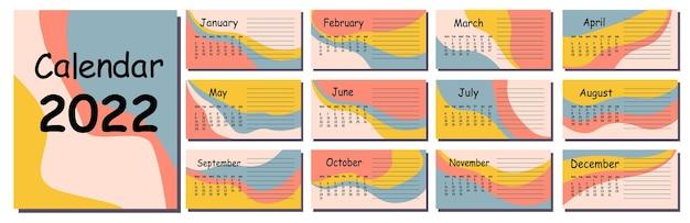Horizontale vektorkalender-designvorlage für 2022, abstraktes design. kalender für 2022 für organisationen und unternehmen. die woche beginnt am montag.