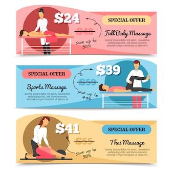 Horizontale verschiedene arten des flachen designs von massage- und gesundheitswesenangebotfahnen lokalisiert auf wh