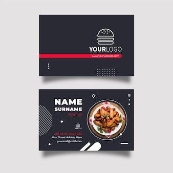 Horizontale visitenkarte des amerikanischen essens