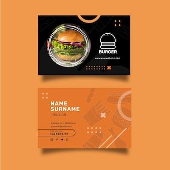 Horizontale visitenkarte des burgers-restaurants