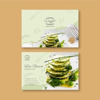 Horizontale visitenkarte des gesunden restaurants restaurant