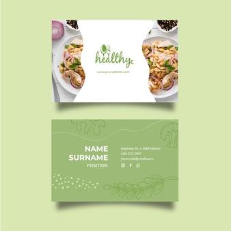 Horizontale visitenkarte des gesunden restaurants