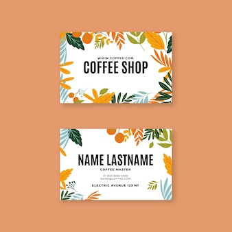 Horizontale visitenkarte des kaffees