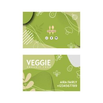 Horizontale visitenkarte des vegetarischen restaurants Premium Vektoren