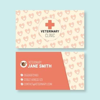 Horizontale visitenkarte des veterinärs