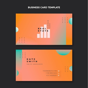Horizontale visitenkarte für immobilien mit farbverlauf