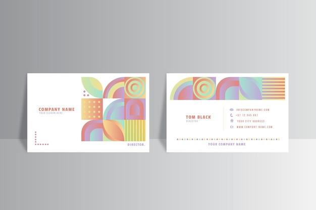 Horizontale visitenkartenschablone des farbverlaufmosaiks