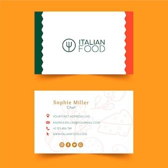 Horizontale visitenkartenschablone des italienischen essens