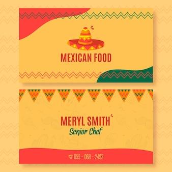 Horizontale visitenkartenschablone für mexikanisches lebensmittelrestaurant