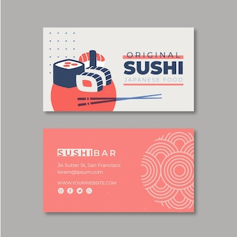 Horizontale visitenkartenschablone für sushi-restaurant