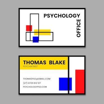 Horizontale visitenkartenvorlage des psychologiebüros