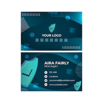 Horizontale visitenkartenvorlage für cybersicherheit
