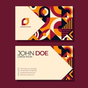 Horizontale visitenkartenvorlage mit flachem mosaik
