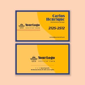 Horizontale vorlage der visitenkarte des mexikanischen lebensmittels