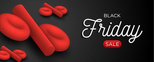 Horizontale vorlage des black friday-verkaufs mit rotem 3d-prozentsatzsymbol auf schwarzem hintergrund