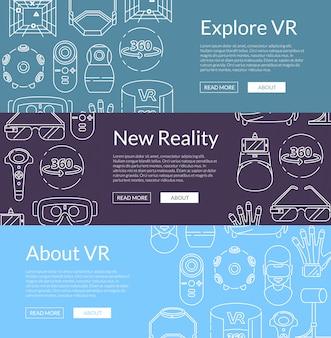 Horizontale web-banner mit elementen der virtuellen realität