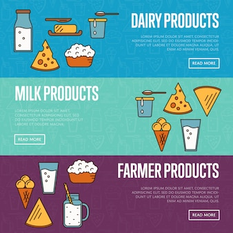 Horizontale websitevorlagen für milchprodukte