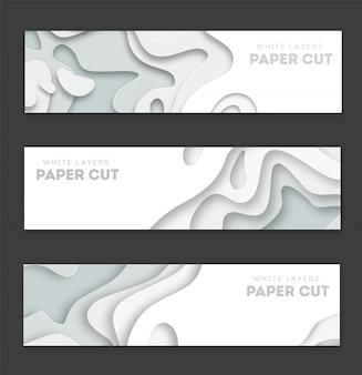 Horizontale weiße fahnen mit 3d abstraktem hintergrund, weißbuch schnitten formen.