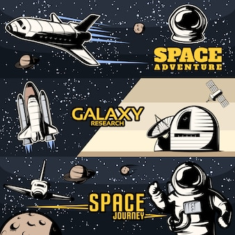 Horizontale weltraumbanner mit wissenschaftlicher ausrüstung für die galaxienforschung, kosmische shuttles für isolierte reisen