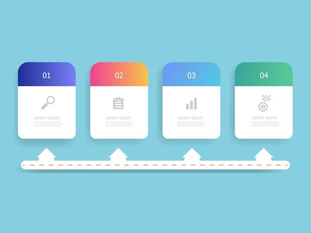 Horizontale zeitachse infografiken 4 schritte für arbeitsplanvorlage