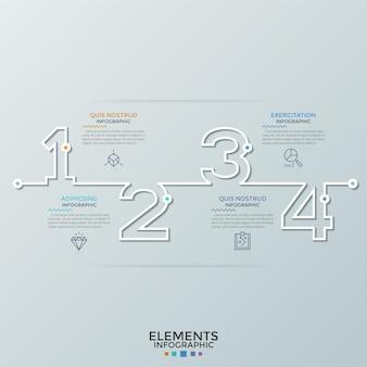 Horizontale zeitleiste mit zahlenumrissen, dünnen liniensymbolen und platz für text. konzept von 4 aufeinanderfolgenden schritten der geschäftsentwicklung. kreative infografik-design-vorlage. vektor-illustration.