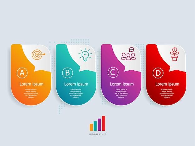 Horizontale zeitleisten-infografiken-elementvorlage mit geschäftssymbolen 4 schritte