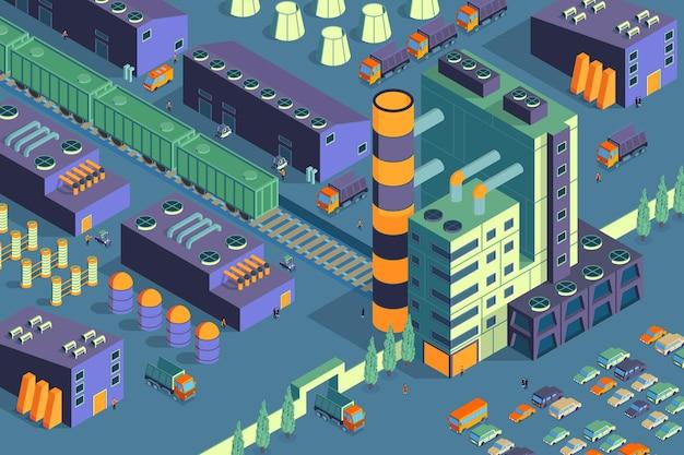 Horizontale zusammensetzung der isometrischen fabrik für industrieanlagen mit blick auf den zaunbereich des industriegebiets mit werksgebäuden