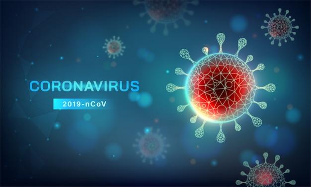 Horizontaler abstrakter covid-19-hintergrund. neuartige coronavirus (2019-ncov) -vektorillustration in blauton