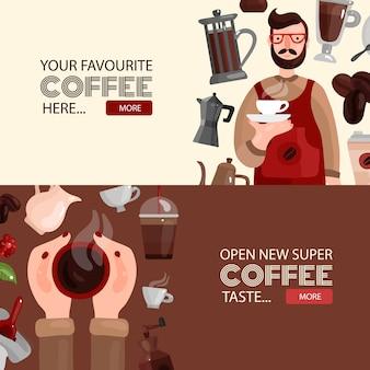 Horizontaler banner-schablonensatz des kaffees