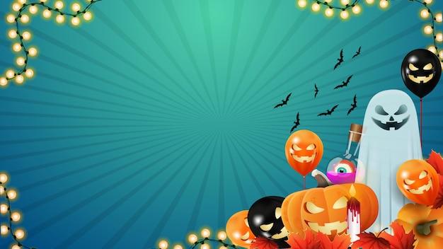 Horizontaler blauer hintergrund halloweens mit halloween-monstern