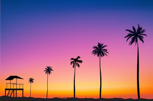 Horizontaler breiter unscharfer rosa hintergrund - sonnenuntergangmeer und palme
