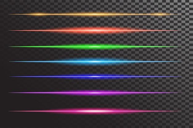 Horizontaler glänzender linienblitz-effekt