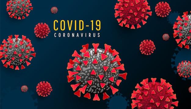 Horizontaler hintergrund der coronavirus-pandemie mit infizierten 19 zellen oder bakterien auf einem dunkelblauen hintergrund. covid-19, gefährliches virus