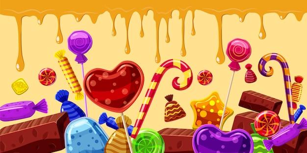 Horizontaler hintergrund der süßigkeitskuchen