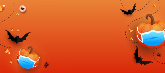 Horizontaler hintergrund des glücklichen halloween-trends. süßes oder saures kürbis mit schützender medizinischer maske, fledermäusen, auge, farbiger süßigkeit auf orange gradientenhintergrund. halloween beängstigendes konzept.