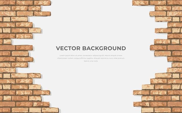 Horizontaler hintergrund des realistischen gebrochenen ziegelmauers. loch in flacher wandstruktur. gelbes strukturiertes mauerwerk für druck, design, dekor, hintergrund