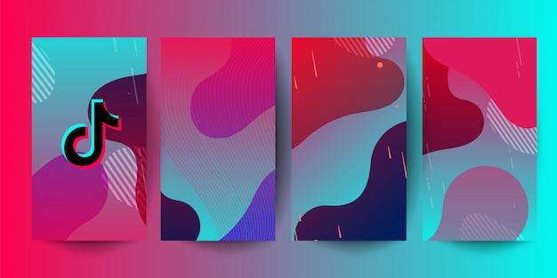 Horizontaler hintergrund des rosa grünen farbverlaufs mit tiktok-logo