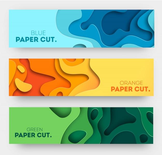 Horizontaler hintergrund mit 3d abstraktem design, papierschnittformen.